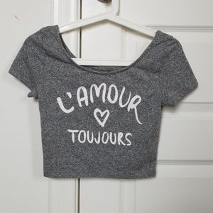 French gray crop top